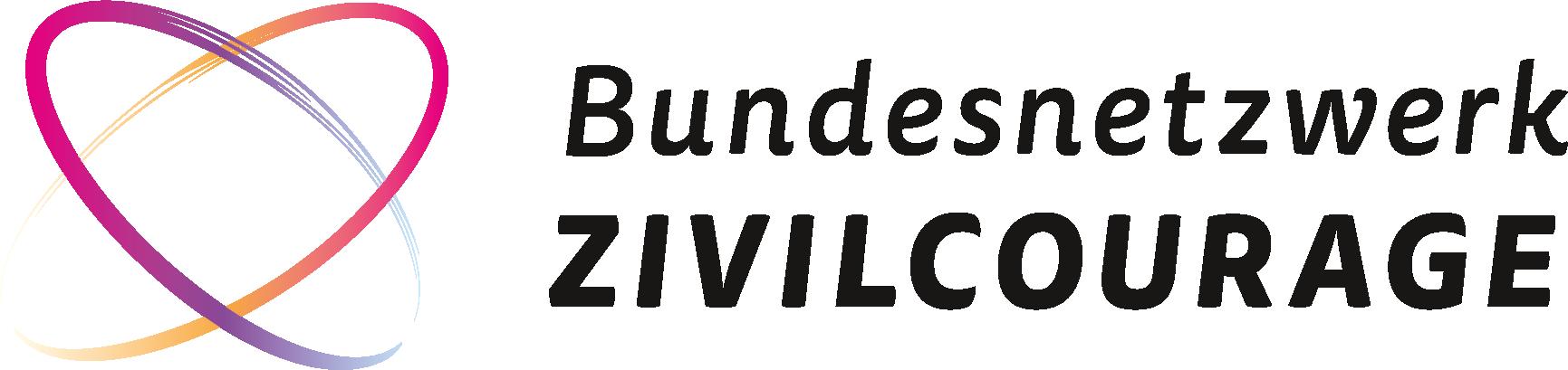 Das Logo des 'Bundesnetzwerk Zivilcourage'. Es besteht aus zwei bunten, geschwungenen Pinselstrichten die verschränkt zusammen ein Herz bilden.